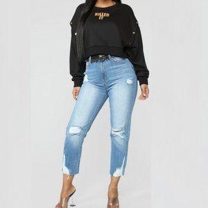 Fashion Nova Distressed Boyfriend Jeans Size 9